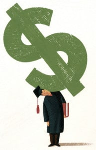 Graduate Holding Dollar Sign On Shoulder