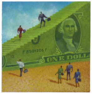 Business people climbing up on a dollar bill