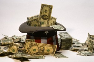 1990s USA CURRENCY AND UNCLE SAM HAT SYMBOLIC STILL LIFE