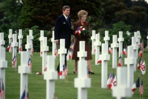 Ronald and Nancy Reagan Visiting Normandy Cemetery