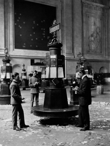 Three Men Inside New York Stock Exchange, 1905