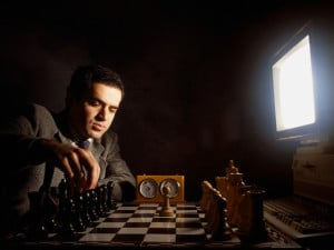 Gary Kasporov playing chess versus IBM's Deep Thought computer