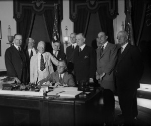 Roosevelt Signing Glass-Steagall Act