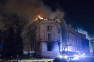 Presidency and Government buildings on fire during protest in Sarajevo