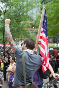 Protesters gathering at wall street at the start of the Wall Street Protests in 2011. Image by © Dreamstime
