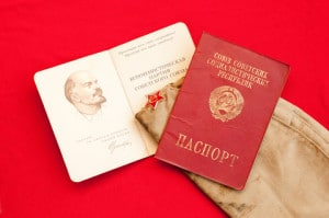 External Soviet era passport and party card. Image by © Dreamstime
