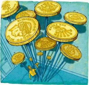 Businessman struggling to spin British pound coins on sticks