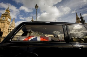 UK - London - Margaret Thatcher's coffin travels to Westminster for the last time