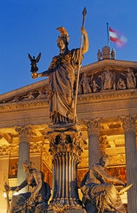 Statue of the Pallas Athena Fountain in Front of the Parliament Building