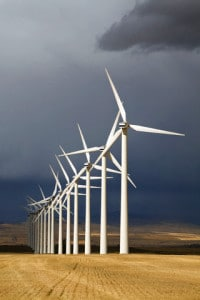 Canada - Alberta - Wind turbines near Cowley as storm approaches
