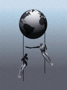 Competitors Hanging From Ropes Under Earth