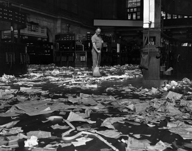 Janitor Sweeping Floor of the New York Stock Exchange