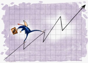 Businessman Climbing up Line Graph