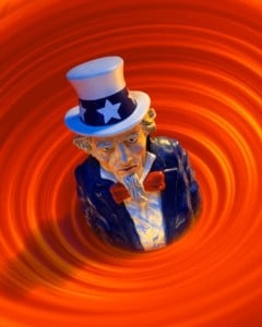 Uncle Sam in red ink whirlpool