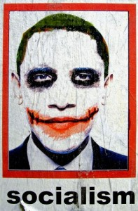 Poster with President Obama as Socialist wearing Joker makeup