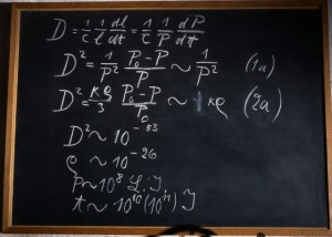 Einstein's blackboard used at the second of three Rhodes Memorial Lectures