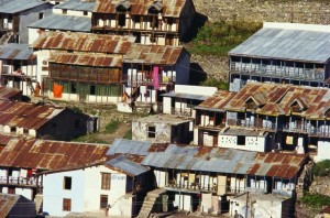 Tin roof houses in Garhwal, Uttar Pradesh, India.