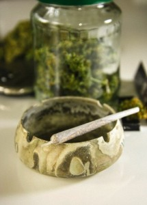 Studio, Marijuana joint on ashtray, close up