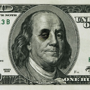 Ben Franklin with black eye