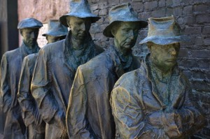 George Segal's sculpture of a breadline druing the 1930's Depression.