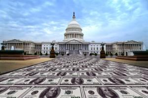 Way to US Capital paved with money, Washington DC, USA
