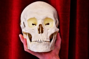 White skull and the hand in the theatre. Image by © Dreamstime