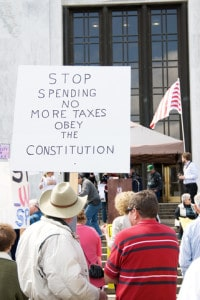 a protest sign against government spending and taxes Image by © Dreamstime